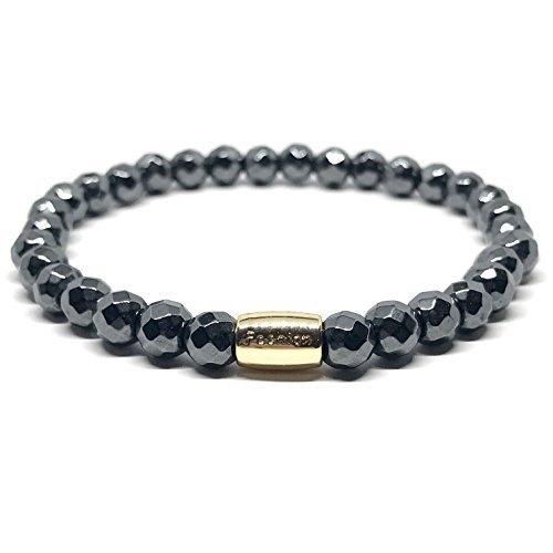 GOOD.designs Chakra Perlen-Armband aus 6mm Natursteinen rund / facettiert (Hämatit facettiert)