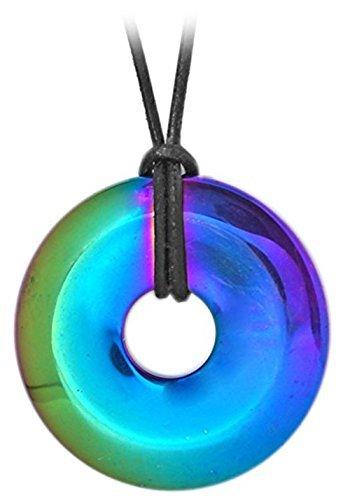 Kaltner Präsente Geschenkidee - Lederkette für Damen und Herren mit DONUT Anhänger aus dem Edelstein HÄMATIT Regenbogen (bedampft)