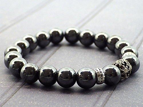 Perlenarmband Hämatit und zentrale Perle mit Swarovski-Kristallen